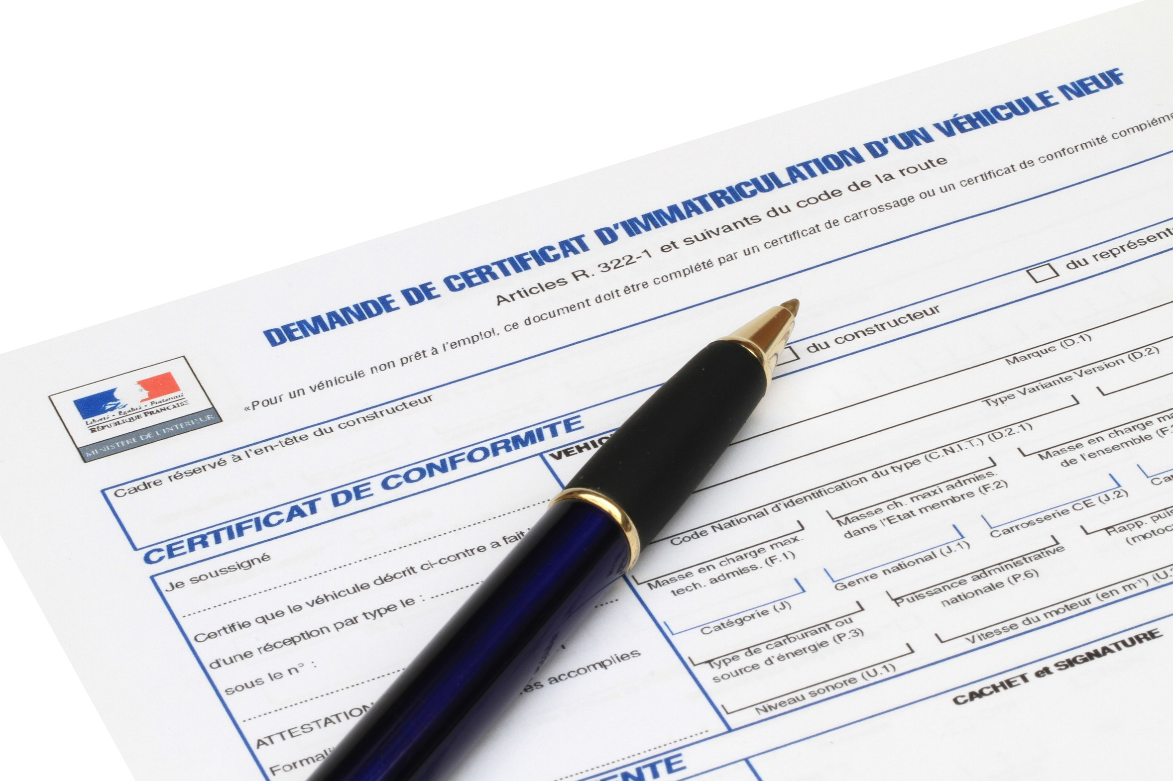 Demande d'immatriculation véhicule